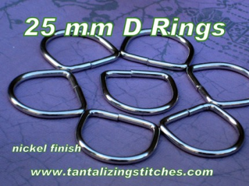 40 Unwelded Nickel Finish D Rings - 25 mm for bags
