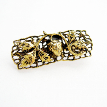 Petite Vintage Antique Gold Strawberry Filigree Bar Pin