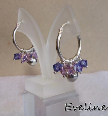 Sterling silver and purple Swarovski   earring
