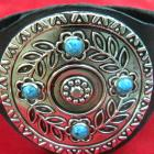 Turquoise and Silver Medallion Leather Cuff