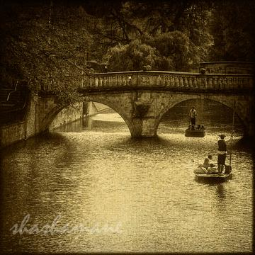 "Old Cam Punting - Cambridge river scene 5 x 5"" fine art photography print"