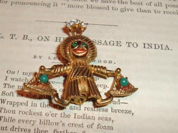 Egyptian rhinestone cute vintage pin/brooch