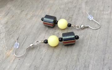 Boho Hippie Lemon Agate Stone and Multicolour Handmade Turned Wood Bead Earrings