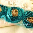 Satin Ruffled  Rosette Two Toned Flower Trim For Headbands, Accent Trim- AQUA & BEIGE
