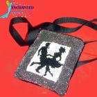 Square Dancers bag beaded with AB seed beads Silver, black, white