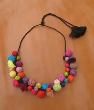 SALE: CROCHET SILK BOBBLE  NECKLACE