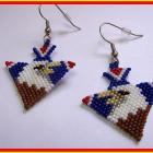 Hand Made Brick Stitch Beaded Eagle Arrow HeadEarrings