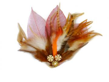 Auburn Red Fascinator - Feather Fascinator - Autumn Fascinator - Leaf and Feather Hairpiece
