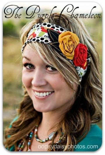  Stasia. Black Polka Dot Headwrap. Headband with Saffron Yellow and Warm Red Rosettes