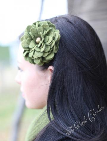 Olive Green Wool Felt Dahlia Headband