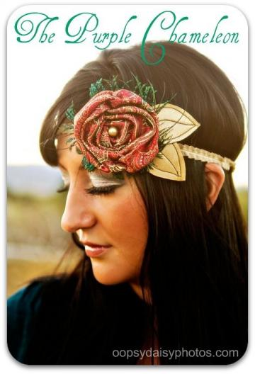 Sascha. Warm Red Brocade with Peacock Feathers and Gold Leaves  Headband
