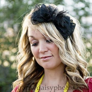 Bella Noir.  Black Vintage Lace Bow with a bit of Edge