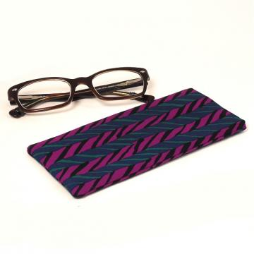 Padded Eyeglass Pouch - Fuchsia and Teal Herringbone