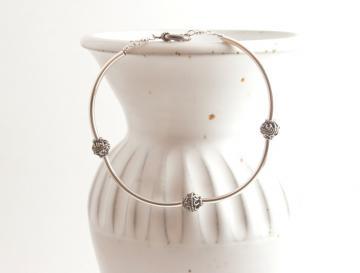 Faux Bangle Bracelet - Sterling Silver Bracelet - Silver Bangle - Size M