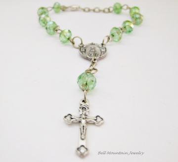 Olivine Crystals Rosary Bracelet