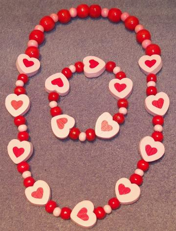 Red and Light Pink Wooden Beaded Necklace and Bracelet with Love Hearts