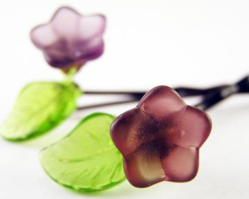 Glass bead flower hair pins. Set of 2. Handmade hair jewelry