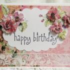 Beautiful Feminine Birthday Card Pink with Roses Handmade