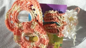 Bracelets /Scrunchy AND Barrettes Set in Peach And White
