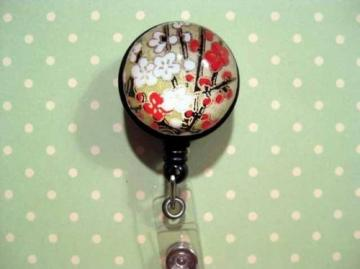 Washi Gem  Clip-on Retractable Reel ID Badge Holder - FLOWER BRANCH