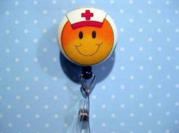FUN BADGE - Clip-on Retractable Reel ID Badge Holder - SMILEY FACE NURSE
