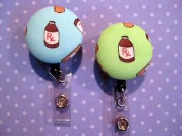FUN BADGE - Clip-on Retractable Reel ID Badge Holder - PHARMACY.  Your choice of ONE from 2 colors.
