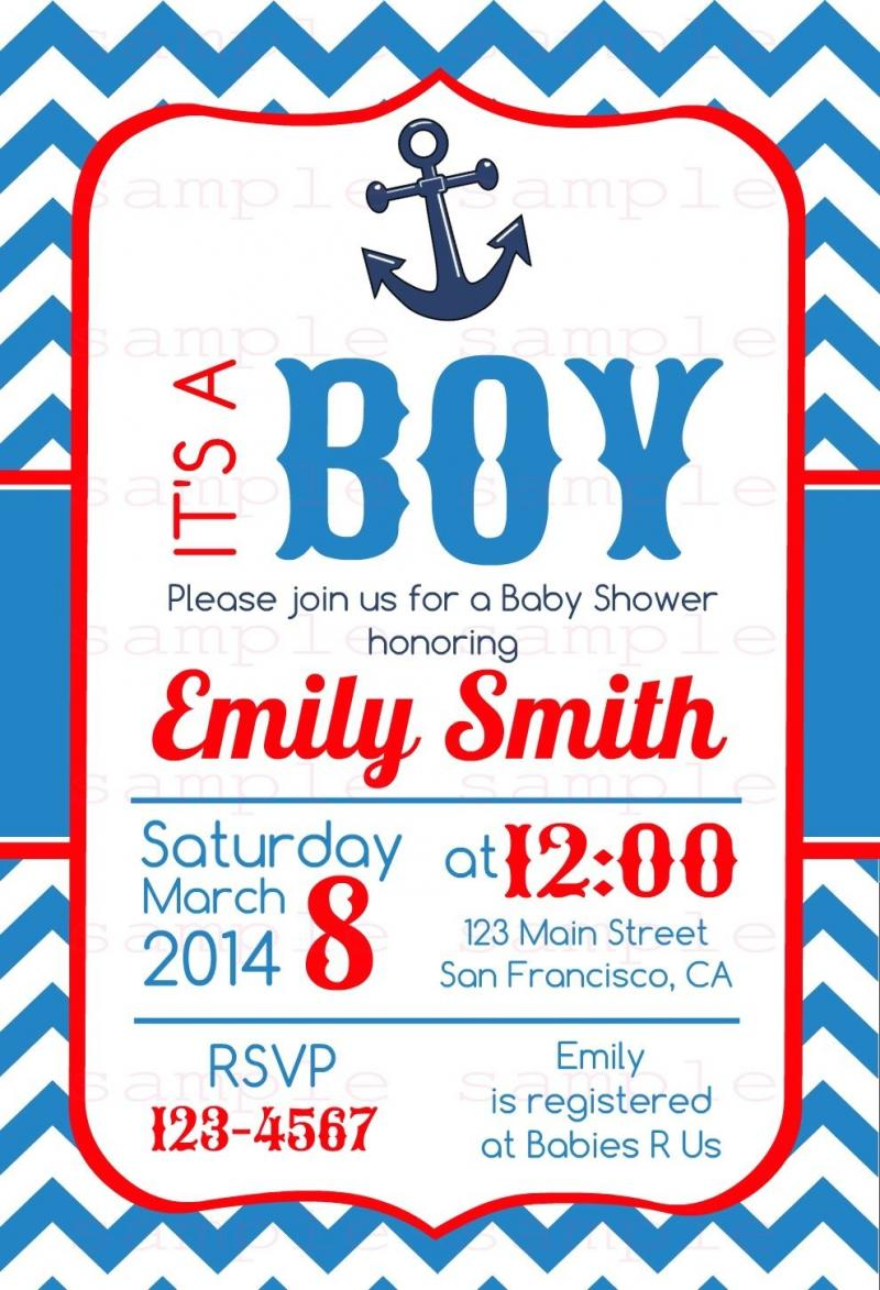 nautical anchor baby shower invitation 4x6 printable file