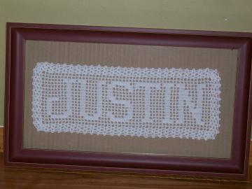 Handmade Custom Filet Crochet NAME DOILY