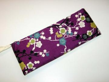 Fabric Zipper POUCH - PURPLE PLUM BLOSSOM