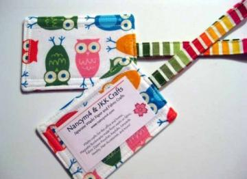 TAG A BAG - 2 Fabric Luggage ID Tags - COLORFUL OWLS on White.