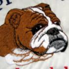 Embroidered English Bull Dog pillow happiness is being loved by