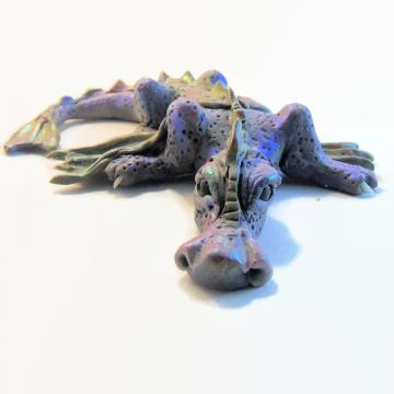 Winged Purple and Green Dragon, Polymer Clay Dragon, Dragon Sculpture