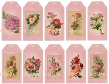 60 Pink Shabby Roses Hang Tags