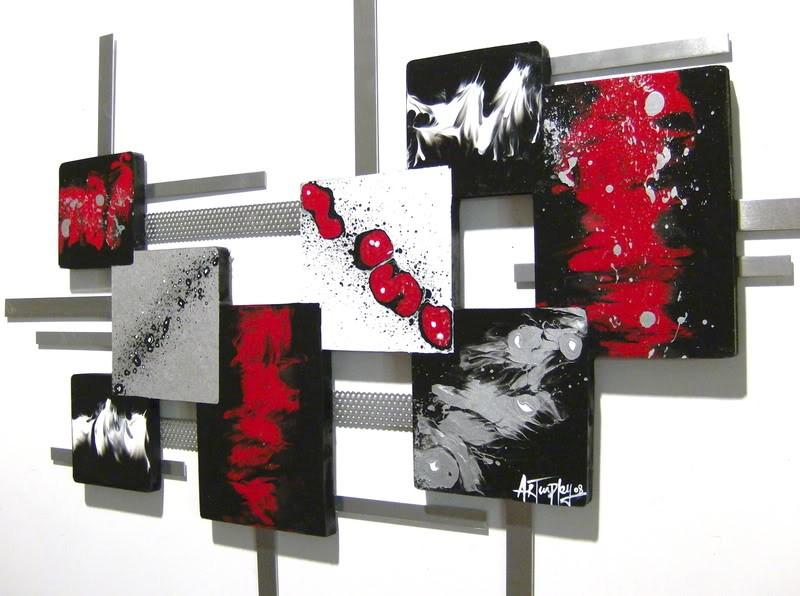 New Red,Black,White Modern Square Abstract Art wood Wall Sculpture
