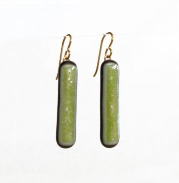 Earrings, Lime Green Sparkle Art Glass, Long Dangles with Golden Niobium French Wires