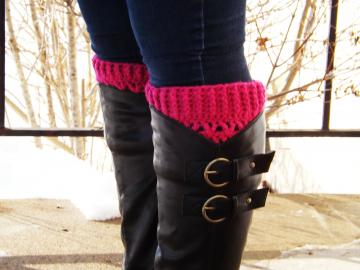 Raspberry Pink Book Cuffs - boot socks