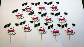 Set of 12 Dalmatian Cupcake Toppers