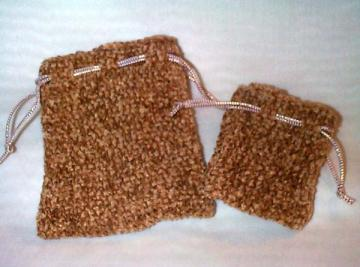 Tawny Oak Rayon Chenille Knit Little Gift Bag Set of 2 Sizes