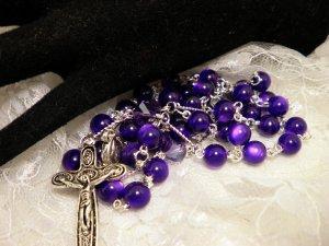 Purple Cats Eye Rosaries
