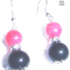 Handmade Pink and Black Earrings