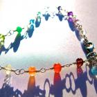 Rainbow Gemstone & Blue Topaz Bracelet, Wire Wrapped in Sterling Silver, AAA Quality Gemstones