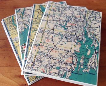 Recycled Map Note Cards - 1938 Southern New England