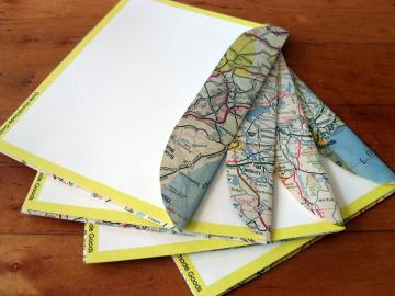 Recycled Map Stationery - 1967 MA CT RI