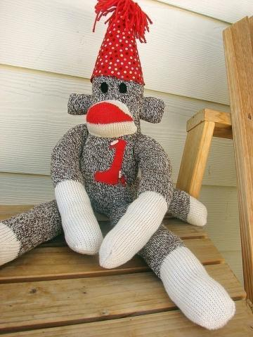 Handmade original red heel birthday sock monkey for all ages...perfect for birthdays or special occassions