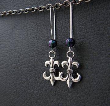 The Purple Jester earrings: antiqued silver fleur-de-lys with iridescent glass beads
