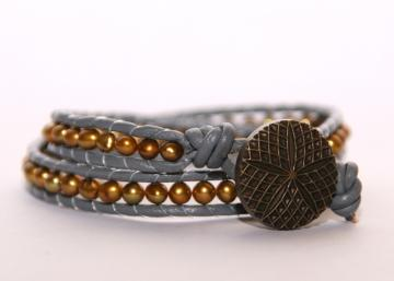 Reagan-Leather Wrapped Beaded Bracelet