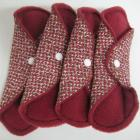 Red and Brown Cloth Pad Set of 4 - Extra Long/Overnight