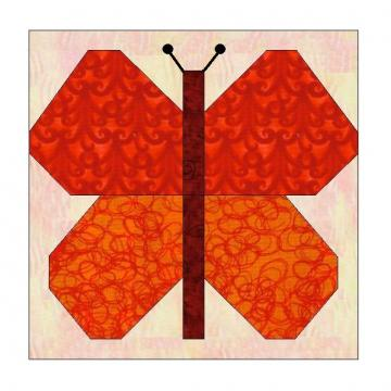 ALL STITCHES - BUTTERFLY PAPER PIECING QUILT BLOCK PATTERN PDF -081A