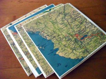 Recycled Map Note Cards - Vintage Mexico