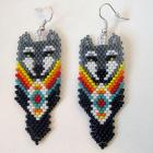 Grey Wolf Head with Fire Color Accents Native Style Beaded Earrings